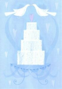 White Dove Doves & Wedding Cake - Blank Inside - Hallmark Cards - Set of 4