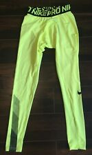 NWT! NIKE Dri-Fit PRO COOL LINES Athletic Tights VOLT YELLOW Men's Size SMALL