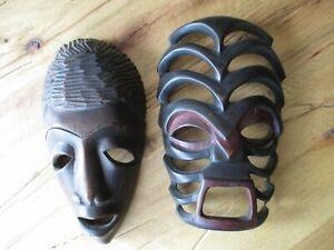 Holz Maske Afrika 2 Stück Wood mask Kata Kata zum Hängen