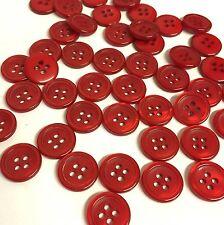 10 x 14mm shiny red rimmed resin opalescent buttons with 4 holes, uk seller