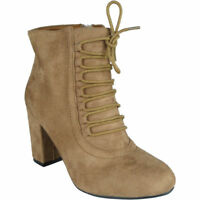 Womens Ladies Ankle Boots Faux Suede Zip High Block Heel Work Lace Up Shoes Size