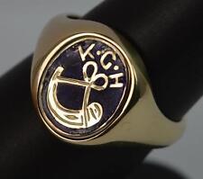 Rare 9ct Gold KGH Blue Enamel Swivel Signet Ring p0472