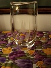 CRYSTAL VASE WITH ETCHED GEESE,  ORREFORS? SIGNED & NUMBERED