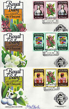 St VINCENT 1982 BIRTH OF PRINCE WILLIAM SET 3 TAB GUTTER PAIRS 3 FIRST DAY COVER