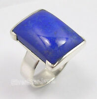 925 PURE Silver Fabulous LAPIS LAZULI MADE IN INDIA MEN'S Ring Any Size BIJOUX