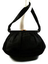 POLETTI E. - MILANO - Fine Quality Black Satin Evening Handbag - Circa 1950's