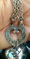 Silver Plated TWO HEART Lovers TALISMAN AMULET Pendant Car Rear Mirror Hanging