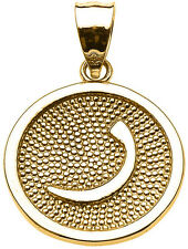 "Yellow Gold Arabic Letter "" raa "" r Initial Charm Pendant"