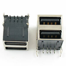 10Pcs Dual USB 2.0 Type A Female 8 Pin Right Angle PCB Socket Connector DIY