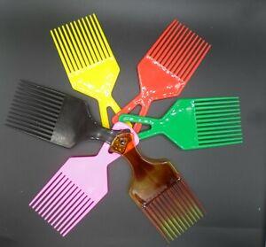 Plastic Afro Curly Hair Comb African Detangler Detangling Wide Teeth Brush Pik