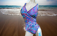 NWT GOTTEX by GOTTEX V-Neck FEATHER PAISLEY 1 pc BATHING SUIT SWIMSUIT sz - 8