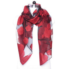 Red Floral Viscose Fashion Long Wrap Fashion Lightweight Women's Scarf