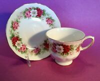 Queen Anne Pedestal Tea Cup And Saucer - Red & Pink Roses And Dogwood - England