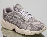 Adidas Originals Falcon Damen Über Weiß Grau Schlangenhaut Freizeit Schuhe