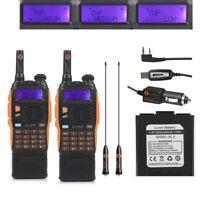 1 Pair Baofeng GT-3TP MarkIII Dual Band V/UHF Two-way Ham Radio 3800mAh + Cable