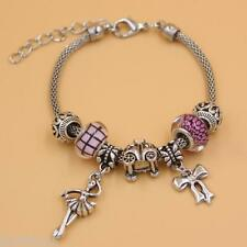19-24cm Sterling Silver Plated Ballerina Princess PINK CHARM Love Bracelet, AUS