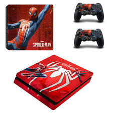 For PS4 Slim Console Skin Decal Controller Vinyl Sticker Spider-Man Theme