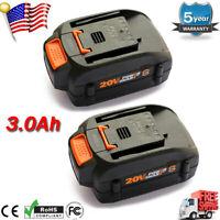 2x 3000mAh 20V MAX Lithium WA3525 Battery for WORX WA3520 WA3575 WA3578 WG155s