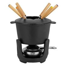 Cast Iron Fondue Set 10 pieces complete with Pot Lid Forks Burner SStand