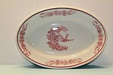 COOK's HOTEL & RESTAURANT SUPPLY N.Y. JACKSON CHINA RED HUMMINGBIRD OVAL PLATTER