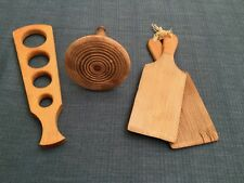 3 Antique•BUTTER PADDLES, VEGETABLE MASHER, SPAGHETTI MEASURE•Wood Kitchen Tools