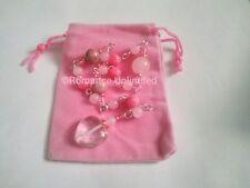 TOUCH OF LOVE Charm LONG Gemstone Copper Bead Pendulum CLEAR QUARTZ Heart Wicca