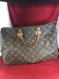 Vintage Authentic LOUIS VUITTON Speedy 35 Monogram Handbag w/ Lock