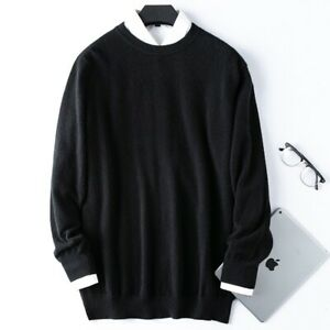 Father's Day Gift Cashmere Blend Knitwear Winter Sweaters Jumpers Top Round Neck
