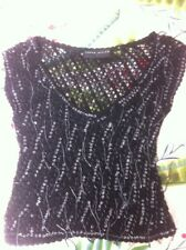 Karen Millen Top Black Beaded Size 1
