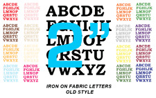 "IRON ON Die Cut FABRIC LETTERS - 2"" Size - MULTI Colours! OLD STYLE - 2 INCH"