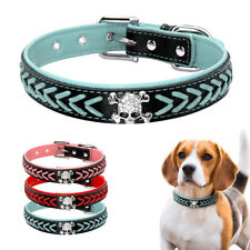 Braided Leather Pet Collar Bling Skull Studded Small Large Dogs Necklace Bulldog