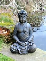 Large  Sitting Buddha Stone Effect Garden Out/Indoor Ornament Cracked Design