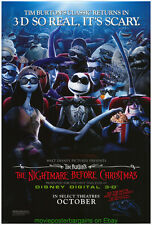THE NIGHTMARE BEFORE CHRISTMAS MOVIE POSTER 3D Re-release DS 27x40 N.MINT
