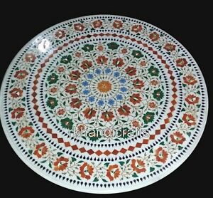 30 Inches Marble Patio Dinette Table Top Inlay with Gemstones Kitchen table top