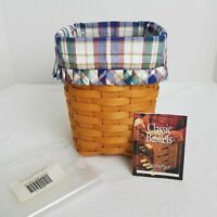 Longaberger Medium Spoon Basket+Woven Traditions Liner+Protector*HANDMADE USA