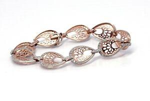18K Rose Gold 925 Sterling Silver Filigree Tear Drop Link Bracelet -S0010