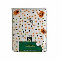 """Halloween Vinyl Tablecloth Pumpkin Oblong 60"""" X 84"""" Orange Black Polka Dot NEW"""
