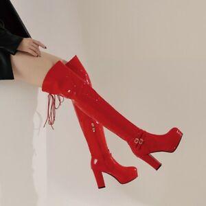 Women's Platform Over The Knee Thigh High Boots Buckle Zip Round Toe Block Heels