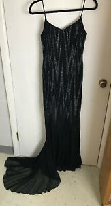 Backless Sexy Beaded Black Dress Formal Wedding Pageant Prom Floor Length Size 4