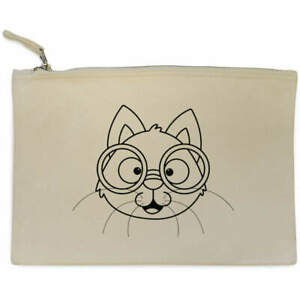 'Cat With Glasses' Canvas Clutch Bag / Accessory Case (CL00022585)