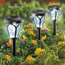 Set of 3 Solar Powered Faux Crystal Pathway Garden Staked Lights