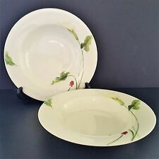 Set of 2 Classic Calla Rimmed Soup Bowl Mikasa Optima Red Berries Lily Y4109