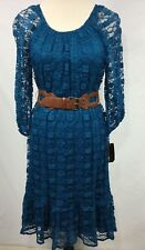 NWT AGB Dress Women Dress Stretch Teal Lace 3/4 Sleeve Faux Leather Belt Size 6