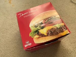 RARE Dave's Single Coaster Set Wendy's Burgers 8 Total Pieces