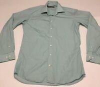 "Hickey Freeman Mens Sz 15.5""/39.5cm Medium Green Gingham Button Front L/S Shirt"