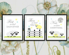 Adorable Baby Girl Nursery Art Set Of 3 Counting Sheep / First We Had Each Other