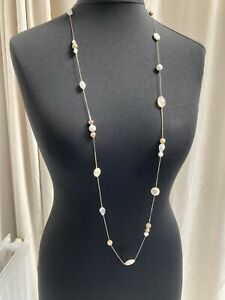 Long goldtone chain necklace with ivory and gold interval beads - N037