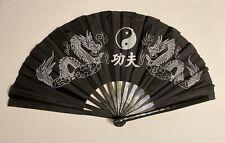Chinese Martial Art Black Bamboo Kung Fu Tai Chi Training Fan