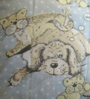 Vintage Snatch the Dog and Cat Bed Sheet Twin Size Flat Sue Hall 1987 Blue