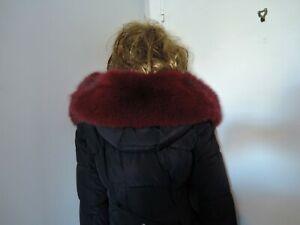 Red real blue fox fur collar trim strip scarf for hood jacket parka furstrip